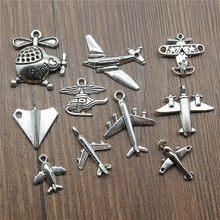 20 pces encantos de aeronaves antigo prata cor avião encantos pingentes para pulseiras airbus encantos que fazem jóias