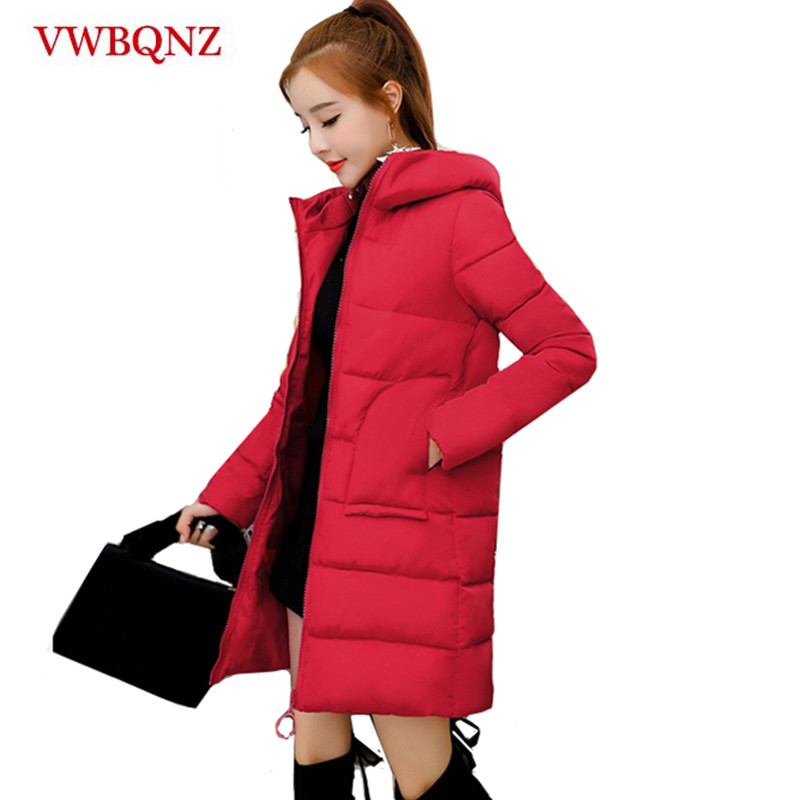 Warm Outerwear Women Winter Hooded Jackets New Fashion Slim   Parkas   Thick Casual Jacket Solid Down cotton Female Long Coats