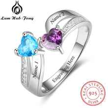 купить 925 Sterling Silver Ring DIY Heart Birthstone Name Classic Rings Anniversary Gift Mother's Day For Wife(Lam Hub Fong) по цене 1603.09 рублей