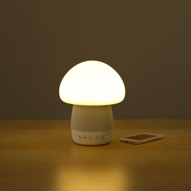 Smart mushroom lamp speakerinnovative home bedroom bedside night light6 color changing led