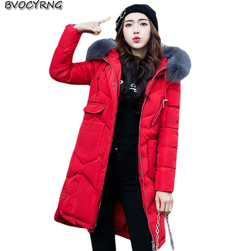 Fashion Ladies Winter Coat 2017New Hooded Collars Big Yards Warm Coat Thickening Down Cotton Jacket Long Style Parka Q742 the new europe foreign trade winter 2016 true collars ms pure color long down jacket to keep warm