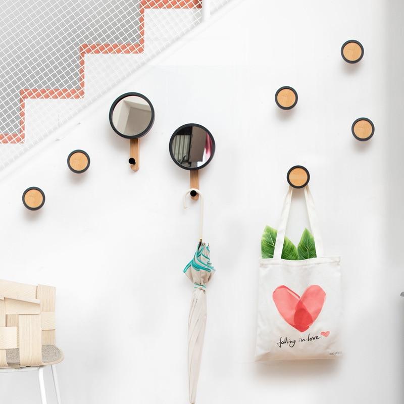 Nordic Hanging Wooden Hooks Bag Coat Hanger Mirror Round Hook Organizer Wall Home Living Room Practical Decoration Rack