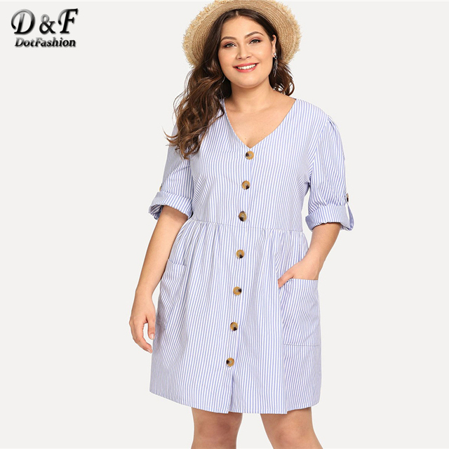 Dotfashion Plus Size Blue Roll-Up Sleeve Stripe Shirt Dress Women Casual 2019 Summer A Line V Neck Fit And Flare Short Dress