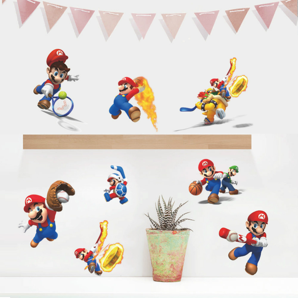Home supermario games supermario wallpapers - Super Mario Wall Sticker For Kids Room Funny Sport Game 3d Wall Room Wallpaper Home Decor Luggage Case Cabnit Creative Poster In Wall Stickers From Home