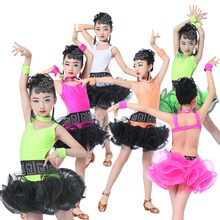 Professional Children Latin Dance Dress Sequin Kids Girls Standard Ballroom Dance Competition Dresses Child Stage Dancer Wear 89(China)