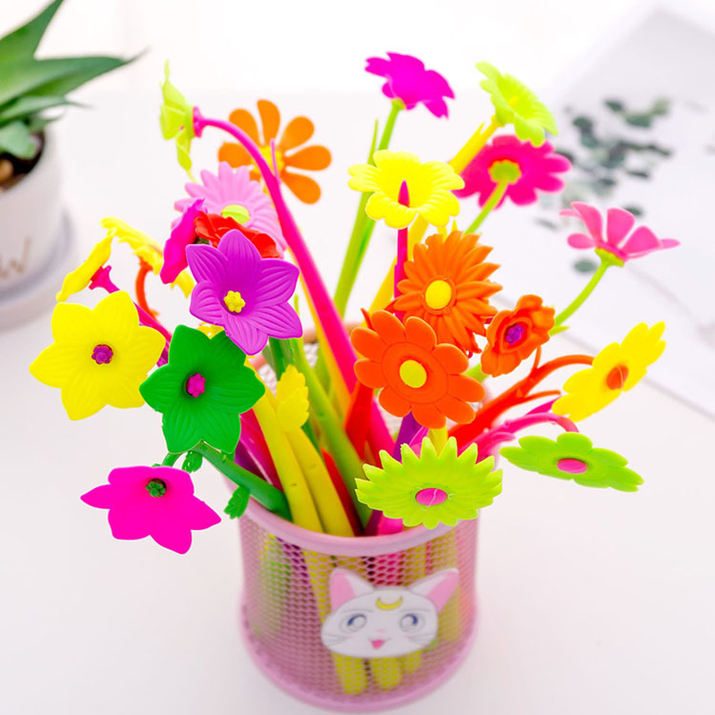 2 Pcs Creative Simulation Plant Soft Flower Silicone Gel Pen Decoration Stationery School Writing Office Supplies Pens