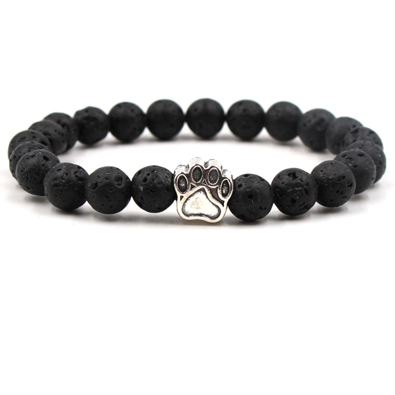 Wholesale Natural Stone Mala Bead Yoga <font><b>Bracelet</b></font> Pitbull <font><b>Dog</b></font> Hand <font><b>Paw</b></font> Elastic Rope Bead <font><b>Bracelet</b></font> Fashion Men Women Jewelry image