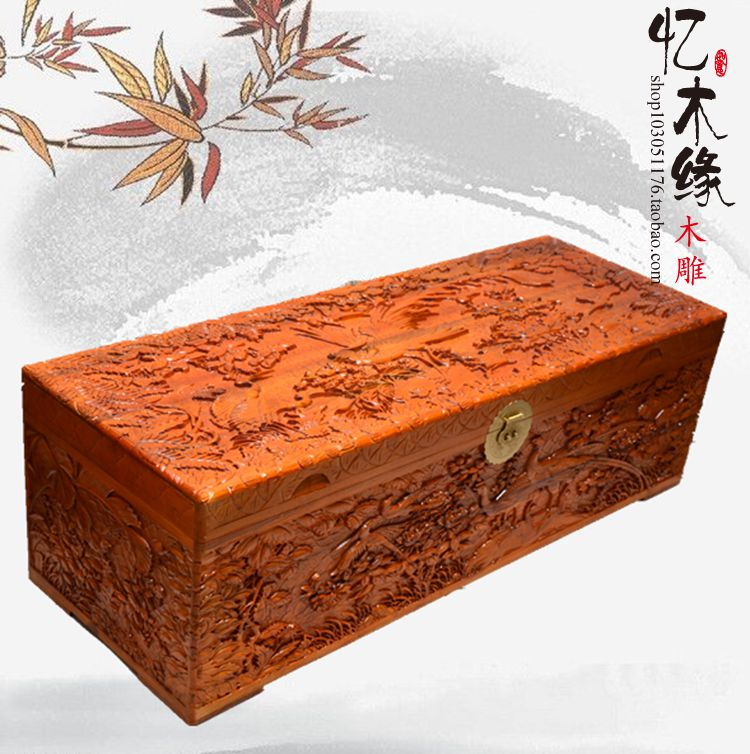 Camphor wood box wedding dowry box suitcase carved wood antique calligraphy and painting box gift box insect цена