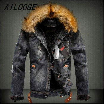 AILOOGE  2018 Fur collar Men Casual Denim Jacket Winter Thick Denim Jacket Retro Jacket Plus Size
