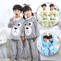 Autumn and winter children's flannel children's pajamas Cartoon thick warm and comfortable boys and girls home service suits