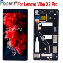 For Lenovo Vibe X2 Pro LCD Display Touch Screen Digitizer Assembly With Frame for lenovo X2PT5 LCD Replacement Parts high quality black lcd display digitizer touch screen tp glass assembly with frame for lenovo a828t phone replacement parts