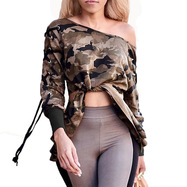 46fe351f81 Camouflage t-shirt women 2017 long sleeve lace up tops sexy off shoulder  bow tie waist t-shirts casual army green crop top tee