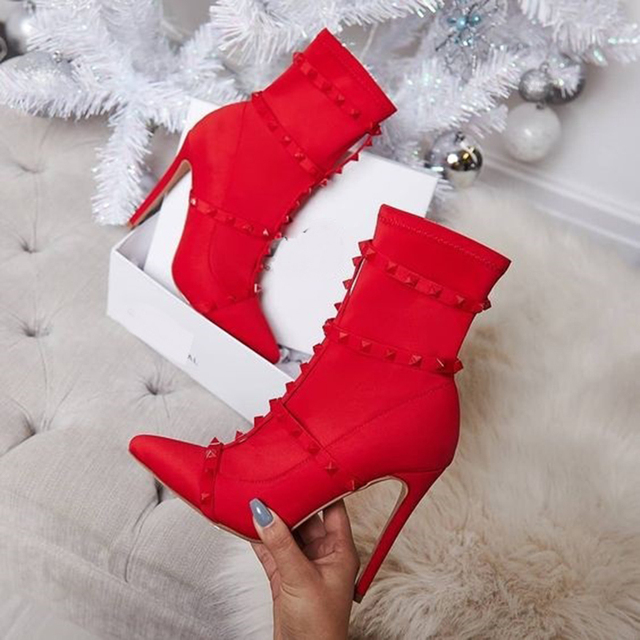 2019 Fashion Luxury Women 11.5cm High Heels Fetish Rivets Silk Sock Boots Stiletto Ankle Boots Scarpins Studded Red Spring Shoes