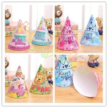 200pcs baby kid princess birthday party hat chlid 1st decoration paper cap cartoon pattern festival crown birthday hat 16 cm