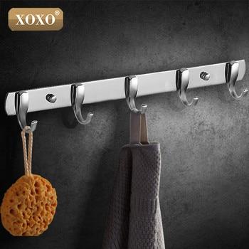 XOXO mejor promoción 3/4/5/6/7 gancho abrigo sombrero inoxidable soporte Perchero de ropa gancho de cocina y cuarto de baño para el hogar Decoración de la puerta