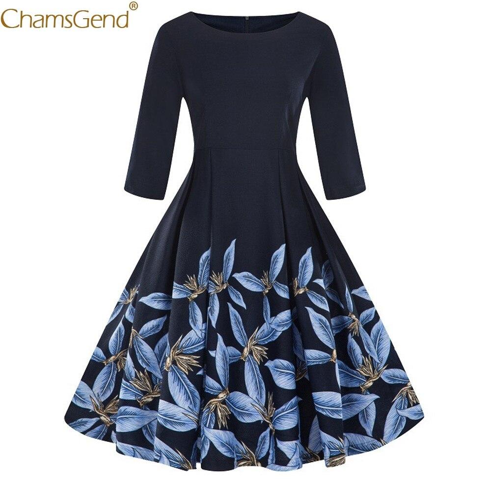 Plus Size 3/4 Sleeve Vintage plus size dresses elegant plus size dresses for women 2018 Floral Print Retro Swing Printed Mar