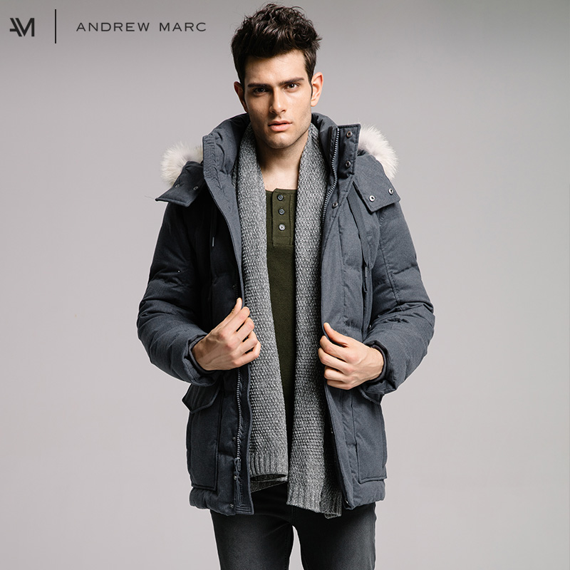 ANDREWMARC 2017 Man Thick Winter Cold Warm-keeping Down Jacket Coat Slim Male Snow Down Coats TM7AE338