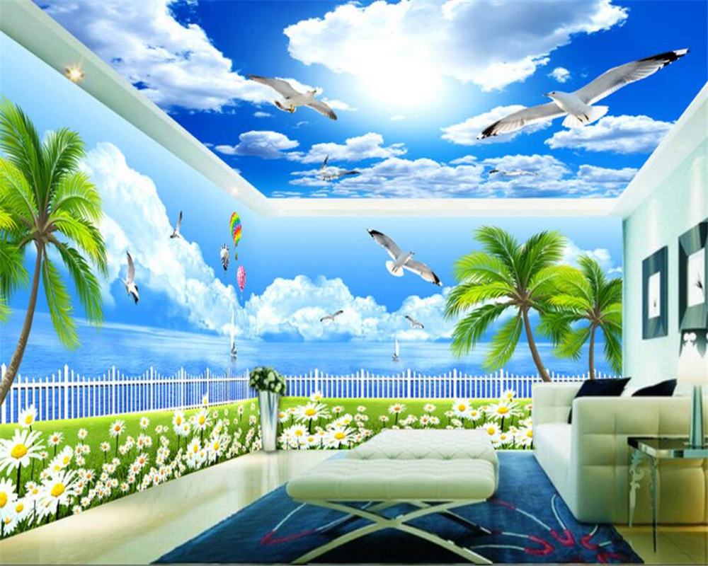 beibehang papel de parede papier peint Custom Classic Interior Painting Wallpaper Aesthetic Seaview Theme Space Wall Background