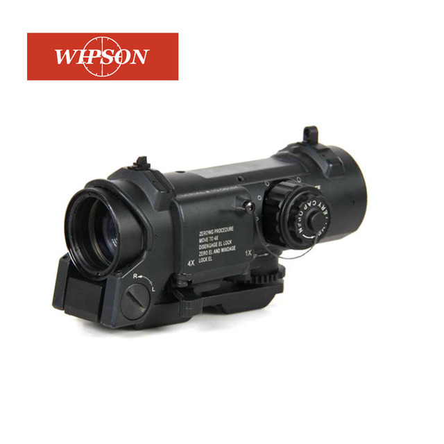 WIPSON 1x- 4x Dual Role Optic Rifle Scope Airsoft Scope Magnificate 4x32 Scope Fit 20mm Weaver Picatinny Rail For Hunting