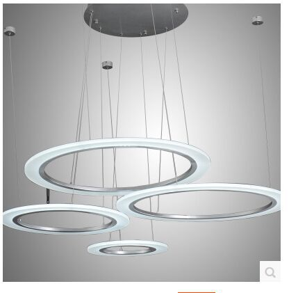 Fashion LED acrylic annular sitting room lamp droplight contracted and contemporary bedroom restaurant SIZE:40+30+20CM - 3