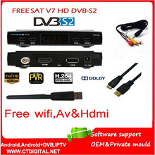 Freesat V7 5 unids powervu newcam Youtube Videos gratis DVB-S2 1080 p ccam decodificador Receptor de Satélite FREESAT V7