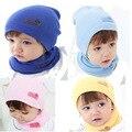 1 pc bebê chapéu e lenço Set outono inverno chapéu do bebê meninas meninos chapéus tampas de recém-nascidos 6 cores - MKE017 PT15