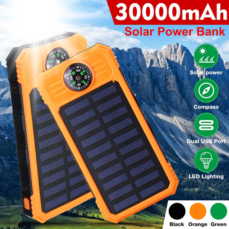 30000mAh Solar Power Bank Waterproof Solar Charger Ports External Charger Powerbank for Smartphone with LED Light Compasses