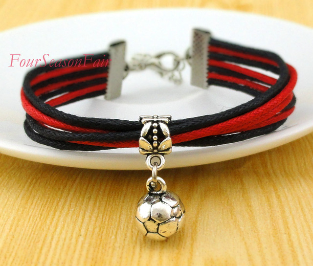 Customizable Football Charm Bracelet Soccer Team Waxed Cotton Cord Sports