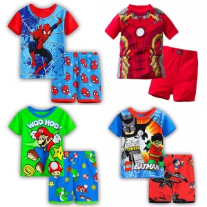 Boy girls pyjamas New summer cotton kids clothes girls set short sleeve clothes sets Batman spiderman Iron Man Short sleeve(China)
