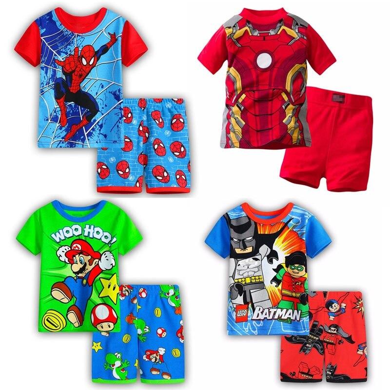 Anne ve Çocuk'ten Pijama Setleri'de Erkek kız pijama yeni yaz pamuk çocuk giysileri kız seti kısa kollu elbise setleri Batman örümcek adam demir adam kısa kollu title=