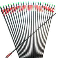 6/12/24/48Pcs 30 inch Carbon Arrow Spine 500 For 40-60 lbs Compound/Recurve Bow Long Bow Archery with Replaceable Arrow Heads
