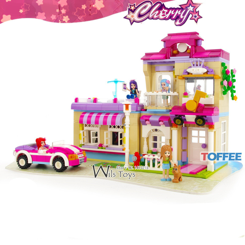 734pcs Star Training Center CHERRY SERIES Friends Princess House Car Building Blocks Figures Gift Educational Toys Girl Children пуф dreambag круг cherry