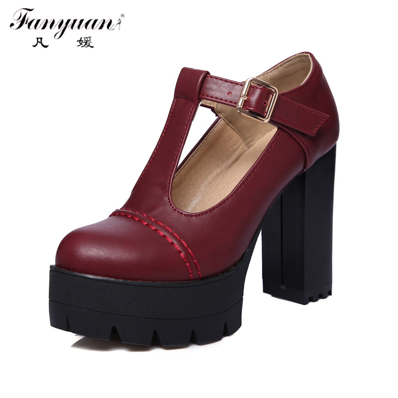 ФОТО Size 34-43 Fanyuan New Spring Women Platform Sexy Working Super High Thick Heel T-Strap High Quality PU Women Pumps Office Shoes
