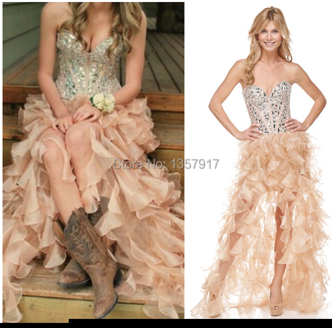Champagne colored evening dress