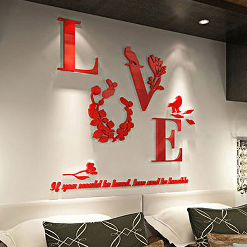 Flower Love Removable 3D Mirror Quote Wall Sticker Decal Mural Home Room Decor