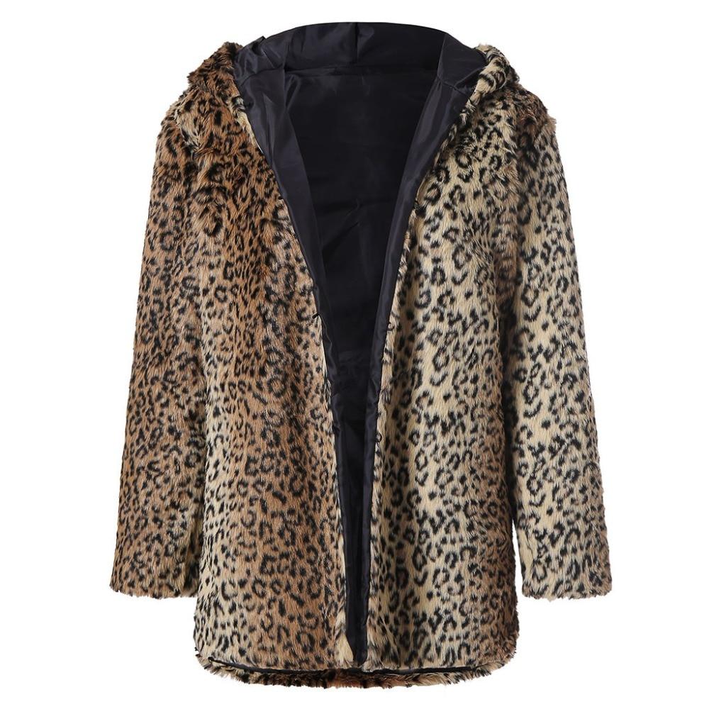 cfeafe9ab3f8 Inverno Cappuccio Per Giacche Con Leopardo A Pelliccia La Maniche Donna  Cappotto Caldo Signora ...