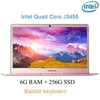 """מקלדת מוארת P9-03 רוז זהב 6G RAM 256G SSD Intel Celeron J3455 16"""" מחשב שולחני מחברת משחקים ניידת עם מקלדת מוארת (1)"""