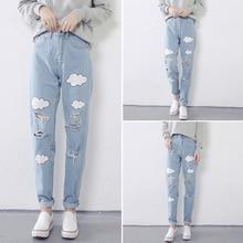 2017 весна Корейской версии Мода бурения высокой талией джинсы женские брюки диких ноги Харлан брюки женские Облако Печати Джинсы