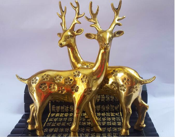 Free shipping 100% brass carving a pair of Sika Deer sculpture animal ornaments 18 cm highFree shipping 100% brass carving a pair of Sika Deer sculpture animal ornaments 18 cm high