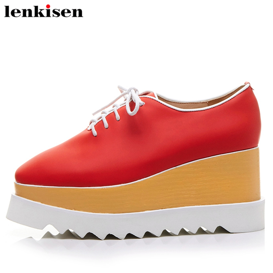 Lenkisen 2018 square toe lace up solid cow leather thick high heels retro causal shoes wedges runway nightclub women pumps L56