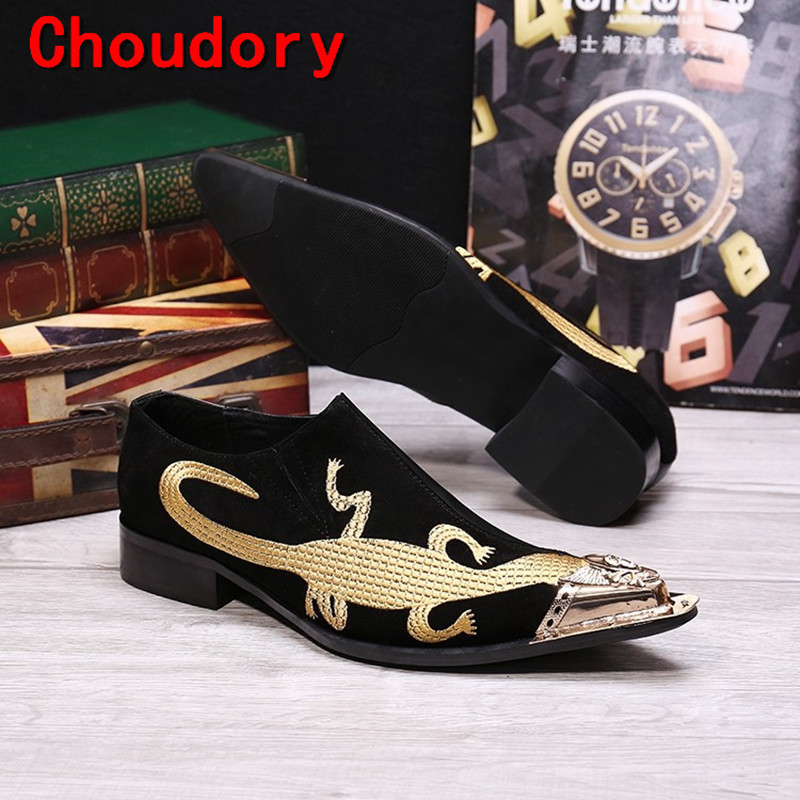 Choudory European style handmade pointed toe high heels velvet slippers gold toe dress shoes men embroidery Loafers size12