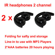 Wholeslae 2pcs  Infrared Stereo Wireless Headphones foldable Headset  IR in Car roof dvd or headrest dvd Player dual channel