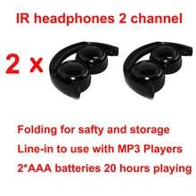 Wholeslae fone de ouvido wireless, 2 peças, fones de ouvido infravermelhos, estéreo, dobrável, ir, para teto de carro, dvd ou descanso de cabeça, dvd player, canal duplo