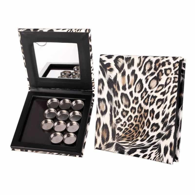 Hot Fashion Leopard Empty Magnetic Eyeshadow Palette DIY Empty Magnetic Case Refill Single Palette Eyeshadow Pans Case Cosmetic