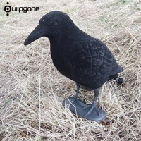 Garden Flocked Hard Plastic Jet Crow Decoy Hunting Stand Body Feet Full Body Stand For Outdoor
