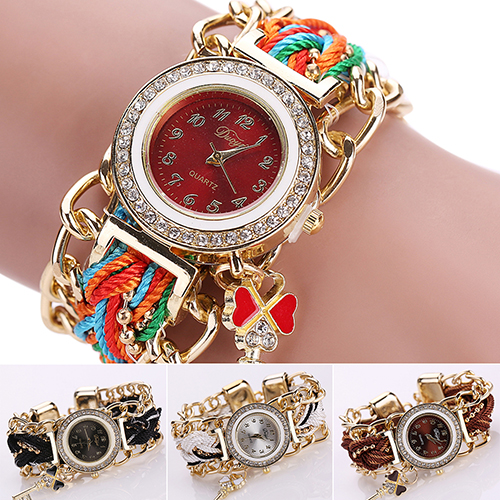 Womens Rhinestone Clover Key Pendant Braided String Chain Wrist Watch