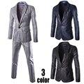 (Casacos + Calças) Conjuntos De Terno de Negócio dos homens Slim Fit Smoking Terno Do Casamento Formal Moda Vestido de Terno Marca Blazer de Algodão Para Homens
