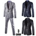 (Chaquetas + Pantalones) Juegos de Negocio de los hombres Slim Fit Vestido de Traje de Moda Marca Formal Tuxedo Blazer de Algodón Traje De Boda Para Hombres