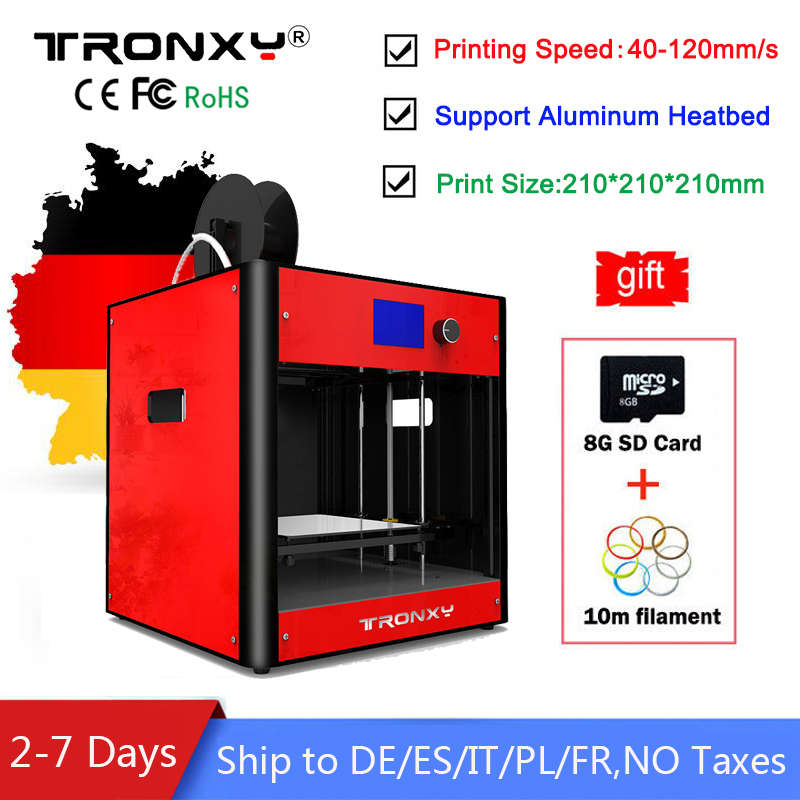 Tronxy 3d printer Kit Large Size 3D Printing 210x210x210mm Full Metal Aluminum Frame DIY kit Printing Speed 40-120mm/s Printer цены