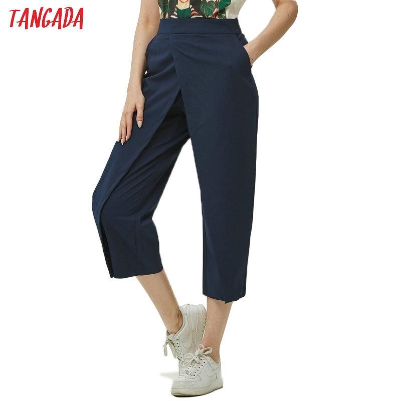 Tangada Women Elegant Navy Pants 2019 Ladies Casual Harem Pants Cotton Cool Korean Fashion Trousers Mujer XD449